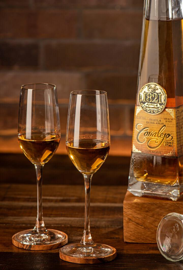 Corralejo 1821 Extra Añejo poured neat in tequila snifters