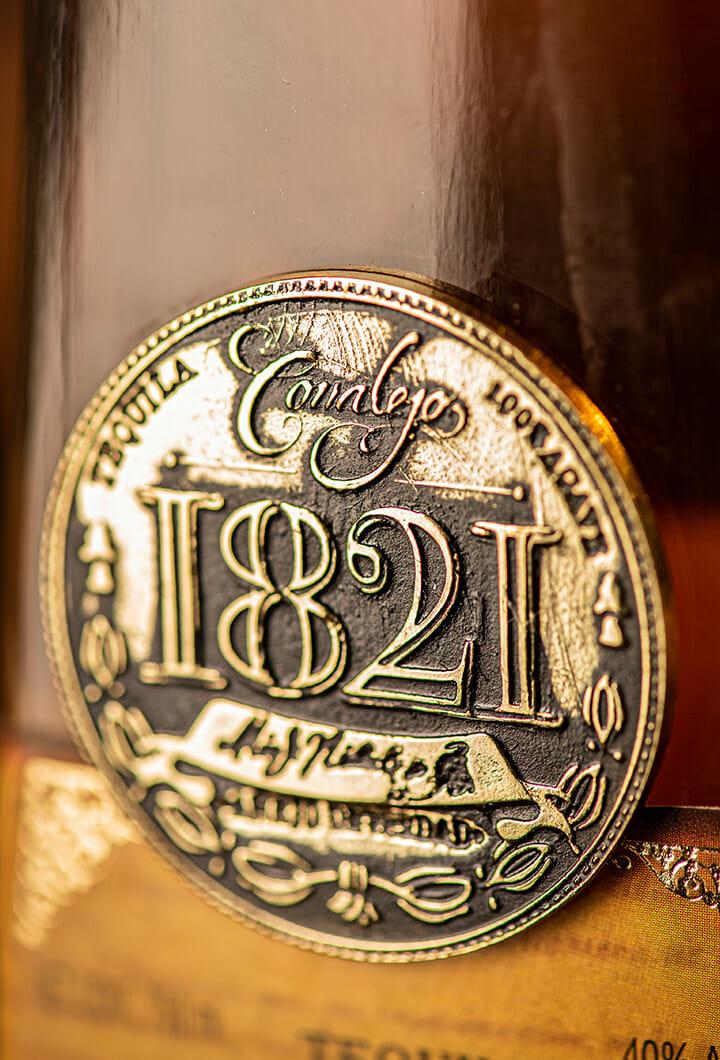 close up of the Corralejo 1821 Extra Añejo bottle