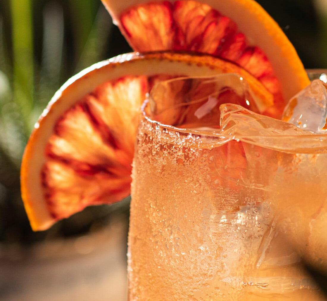 closeup of Corralejo's blood orange margarita