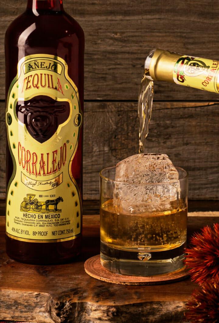 Corralejo Añejo poured in a glass over ice