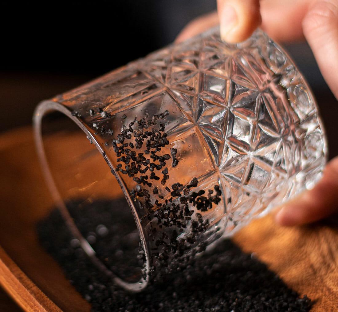 corralejo cadillac - closeup of black salt rim