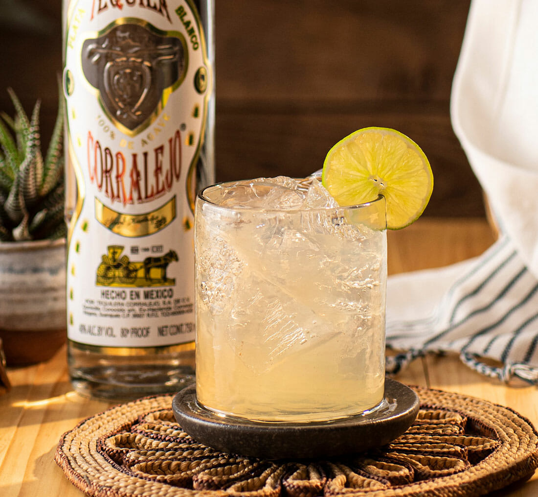 the classic corralejo margarita with the corralejo silver bottle