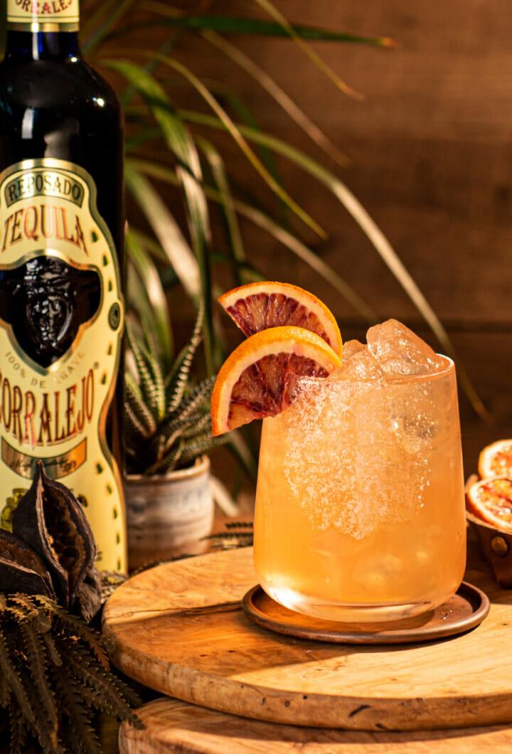 Corralejo Reposado cocktail and bottle