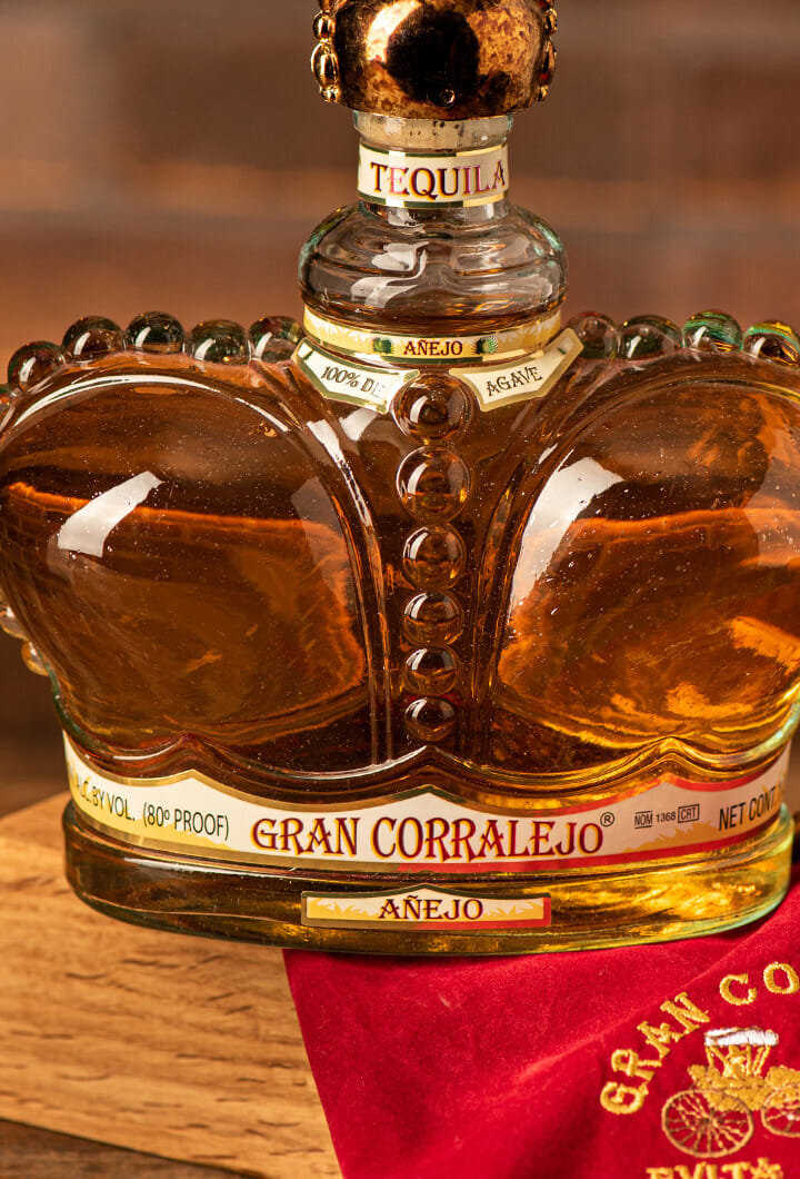 close up of the tequila gran corralejo bottle
