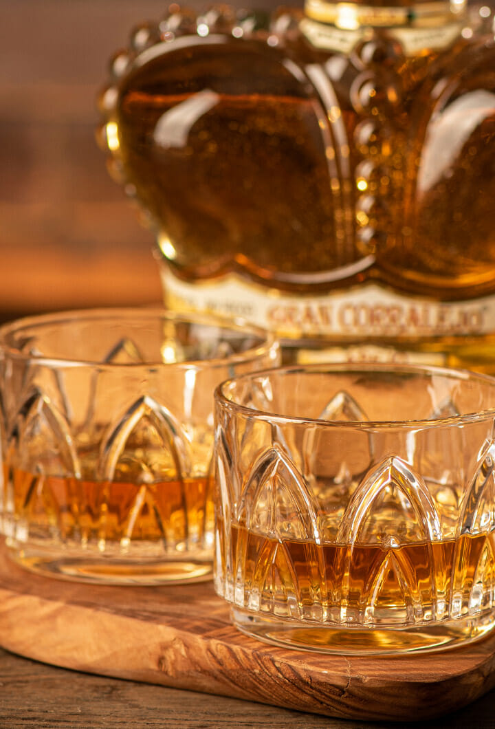 tequila gran corralejo añejo poured neat in glasses