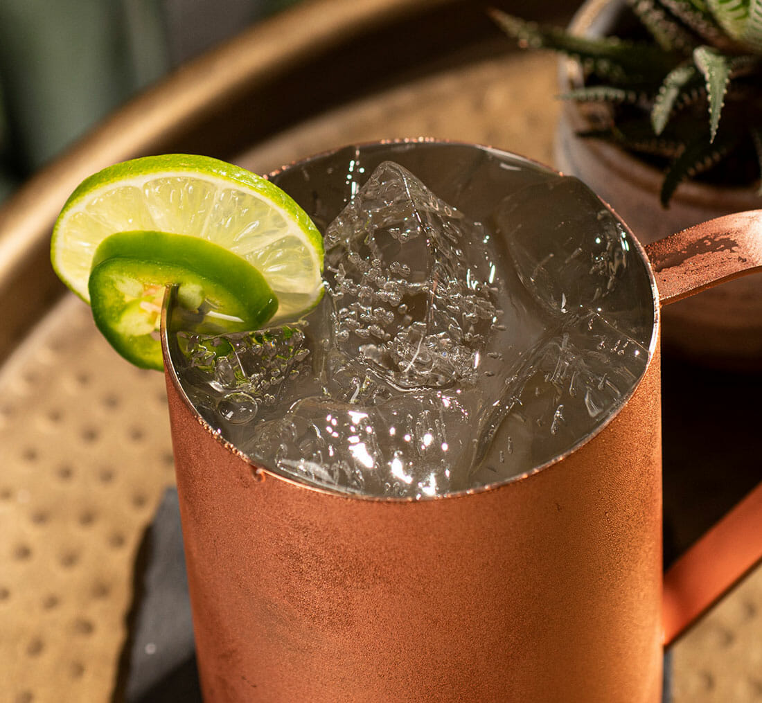closeup of the Mexican Mule cocktail